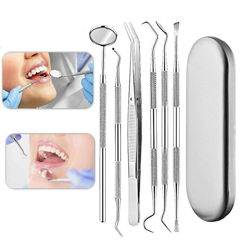 6 шт./компл. Нержавеющаясталь стоматологическое зеркало стоматологический Набор инструментов с сумкой стоматологическое зеркало стомато...