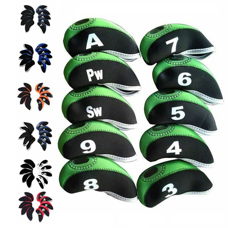 10pcs/set Multicolor Club Protective Cover Stylish Neoprene Iron Club Head Cover Club Accessories Portable Durable Training Aids