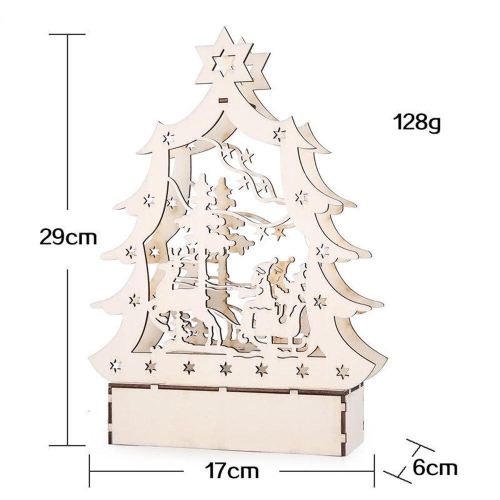 Ночной светильник, деревянный дом, светодиодный, Рождественский, церковный, милый, мини, креативный, деревянный, Мульти Узор, на День святого Валентина, год, рождественские подарки, древесный Декор - Цвет: Christmas tree