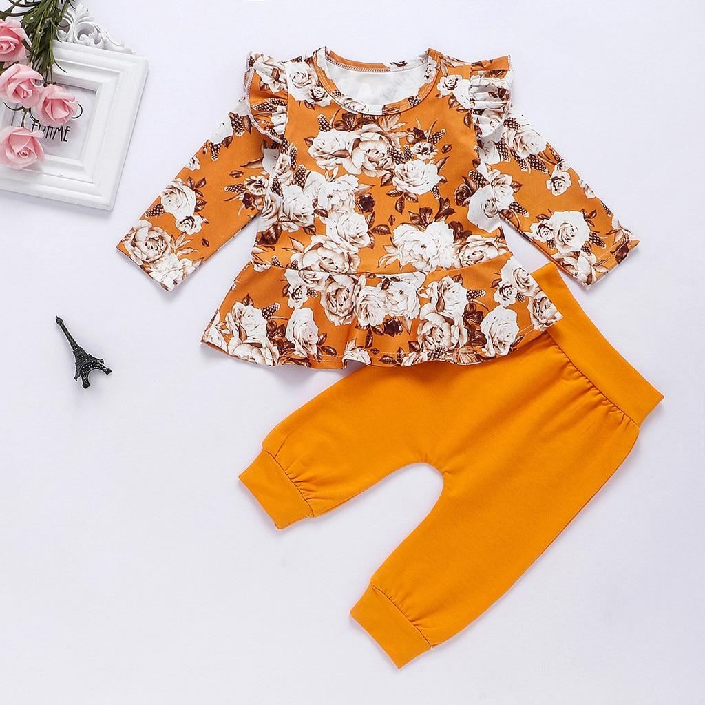 2pcs Toddler Kids Baby Girl T-shirt Tops+Floral Pants Autumn Outfits Clothes Set