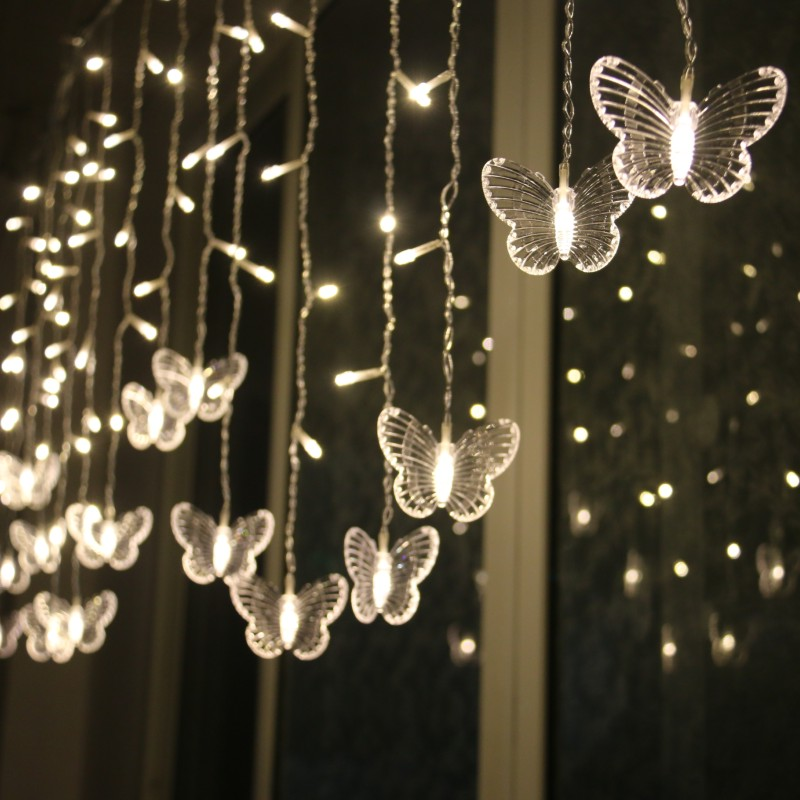 LED Butterfly Curtain Light Ices Strip Butterfly Pendant Light String Indoor Outdoor Decoration JA55