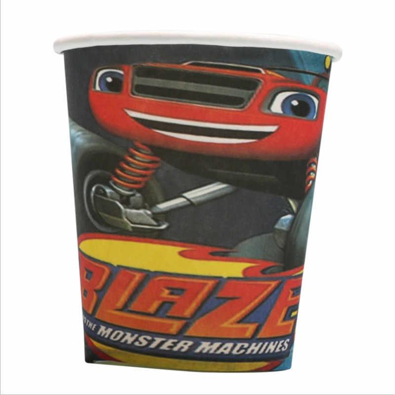 Kokoer בלייז את מפלצת מכונות מסיבת יום הולדת סט קישוטי נייר כוס צלחת, ילדי ילד ילדי יום מסיבת אספקת רכב