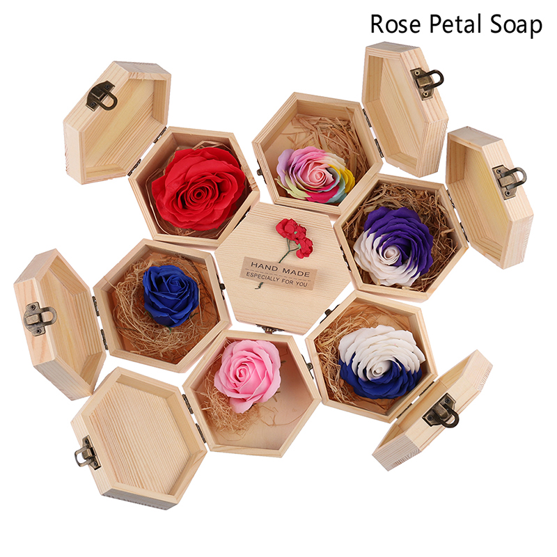 1Set Rainbow Multi-colored Rose Flower Petal Soap Wooden Polygon Shape Box Party Valentine's Day Gift