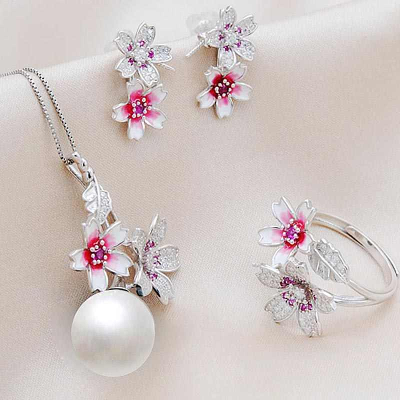 MeiBaPJ Real 925 Sterling Silver Pink Flower Jewelry Set Natural Round Pearl Pendant Ring and Earrings Wedding Jewelry for Women