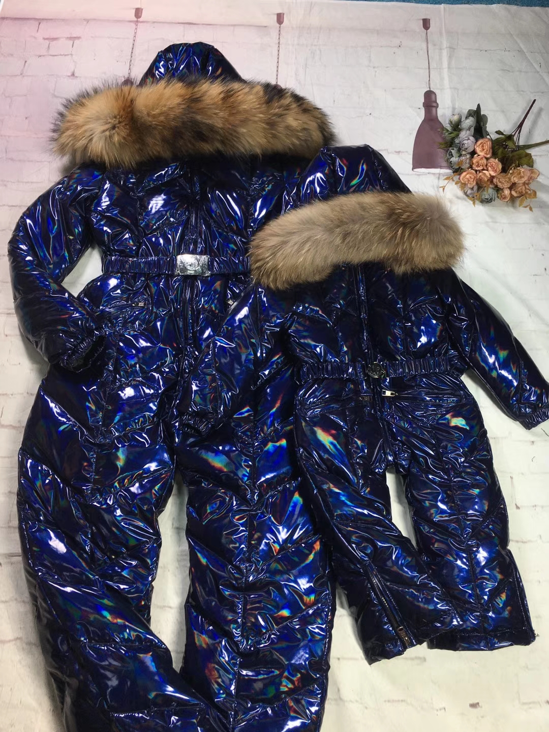Real Fur 2019 Winter Jacket Mother Child Jackets Children Jumpsuit Snow Suit Family Overall Down Romper Ski Suits Outerwear