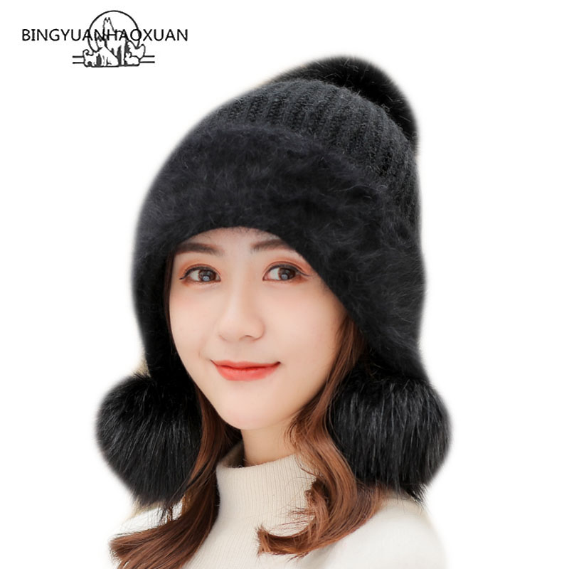 Three Pom Pom Hat Women Winter Ski Snow Caps Warm Rabbit Hair Knitted Hat With Visor 2018 New Cute Winter Beanie Caps For Girl