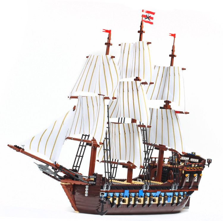 Building Blocks Silent Mary Pirates 10210 Caribbean Imperial Flagship Black Pearl Ship Queen Anne For Kids Toys Children Gift