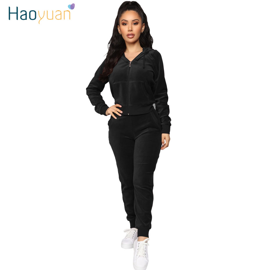 HAOYUAN Velvet Two Piece Set Velour Tracksuit Women Clothing Top And Pants Sweat Suit 2 Piece Matching Sets Fall Winter Outfits