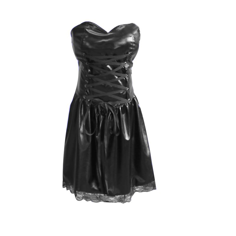Death Note Cosplay Misa Amane Costume Imitation Leather Sexy Tube Tops Lace Dress Uniform Outfit Dress+gloves+stocking