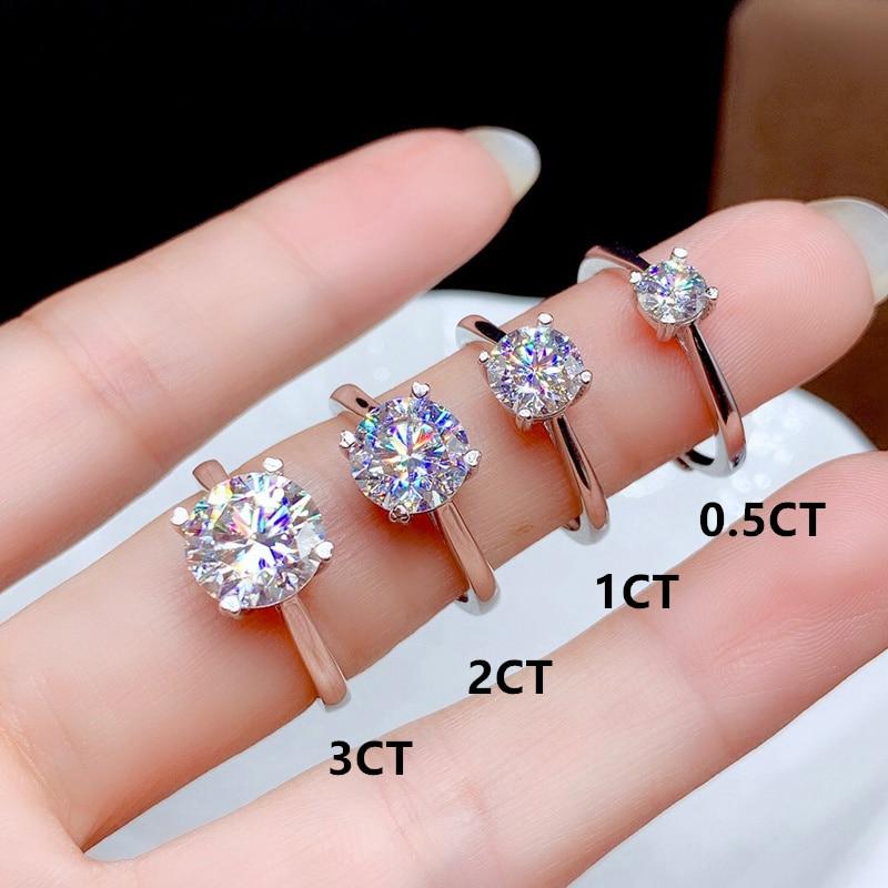 Moissanite-bague en diamant fin pour femmes, bijoux fins pour femmes, cadeau d'anniversaire en argent Sterling 925, 0.5CT 1CT 2CT 3CT VVS de laboratoire 2
