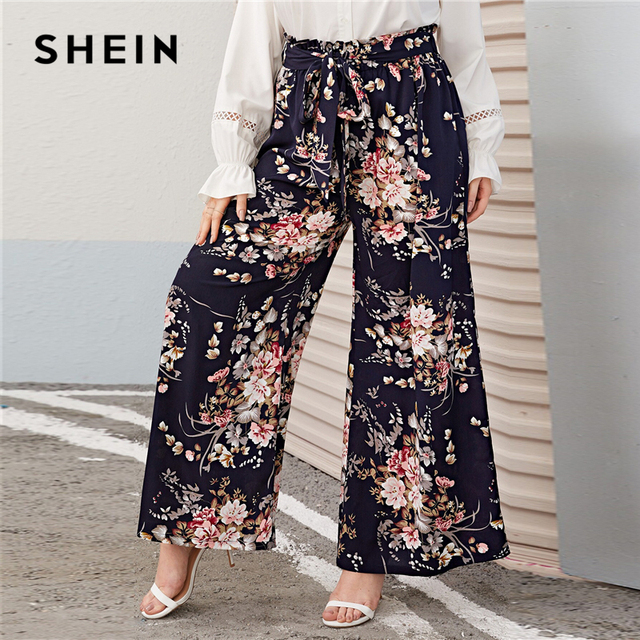 SHEIN Plus Size Multicolor Paperbag Waist Floral Print Wide Leg Pants Women Autumn Spring Boho Belted Long Loose Trousers 3