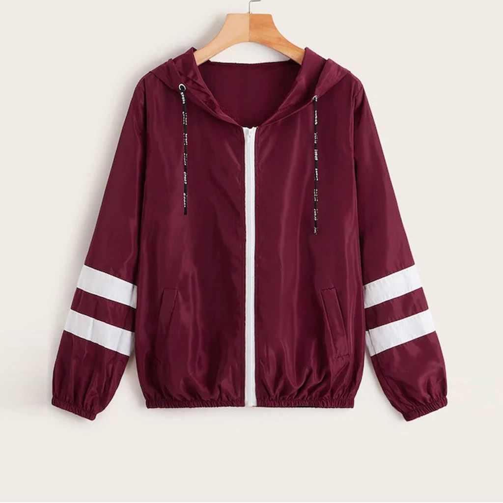SAGACE kobiety jesień kolor bloku kurtka sznurek wiatrówka z kapturem na co dzień sweter w paski z długim rękawem Zipper Colorblock Top