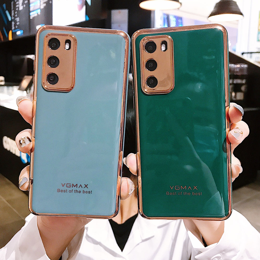Solid Color Camera Protection Phone Case For Huawei P40 P30 Pro P40 Lite Mate 20 <font><b>30</b></font> Pro Nova <font><b>5</b></font> Plated Case Soft TPU Phone Cover image