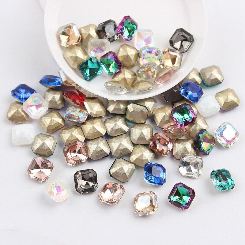 Все смешанные цвета, 30 шт, стразы для дизайна ногтей, сделай сам, без горячей фиксации, стеклянные камни для ногтей, драгоценные камни для 3D украшения для ногтей - Цвет: 8mm Square Octagon