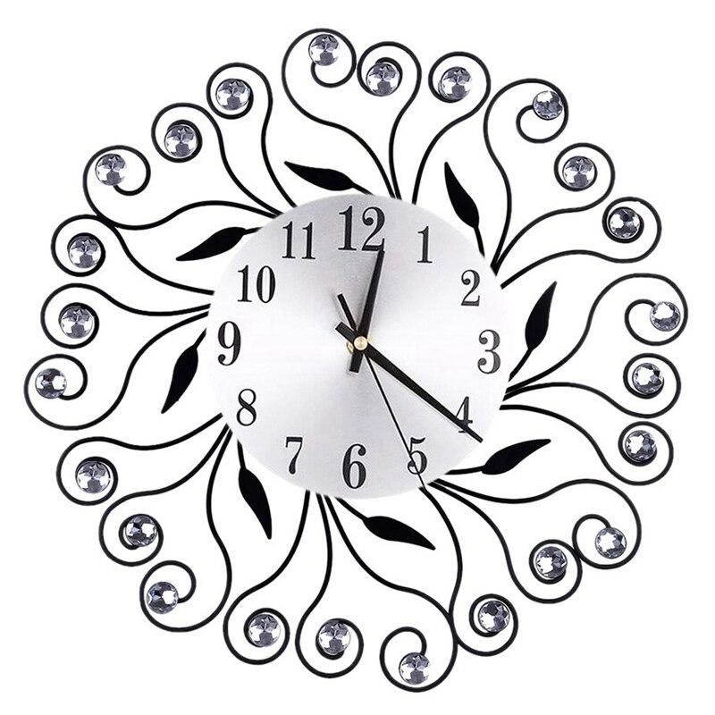 Quartz Needle Clock Watch Wall Clocks Modern Design Silent Wall Clock Flower Iron Hollow Out Decoration Clocks Home Decorations