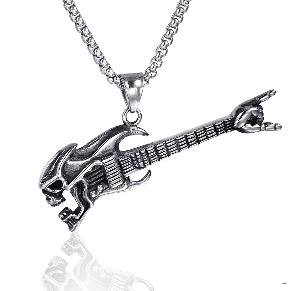 Stainless <font><b>steel</b></font> skull <font><b>guitar</b></font> pendant <font><b>necklace</b></font> personality flame <font><b>guitar</b></font> <font><b>titanium</b></font> <font><b>steel</b></font> pendant <font><b>necklace</b></font> punk jewelry image