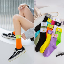10 pieces = 5 pairs Women Socks Ins Fashion Cotton New Creative Color Matching Embroidery Fashion Candy-Colored Socks women