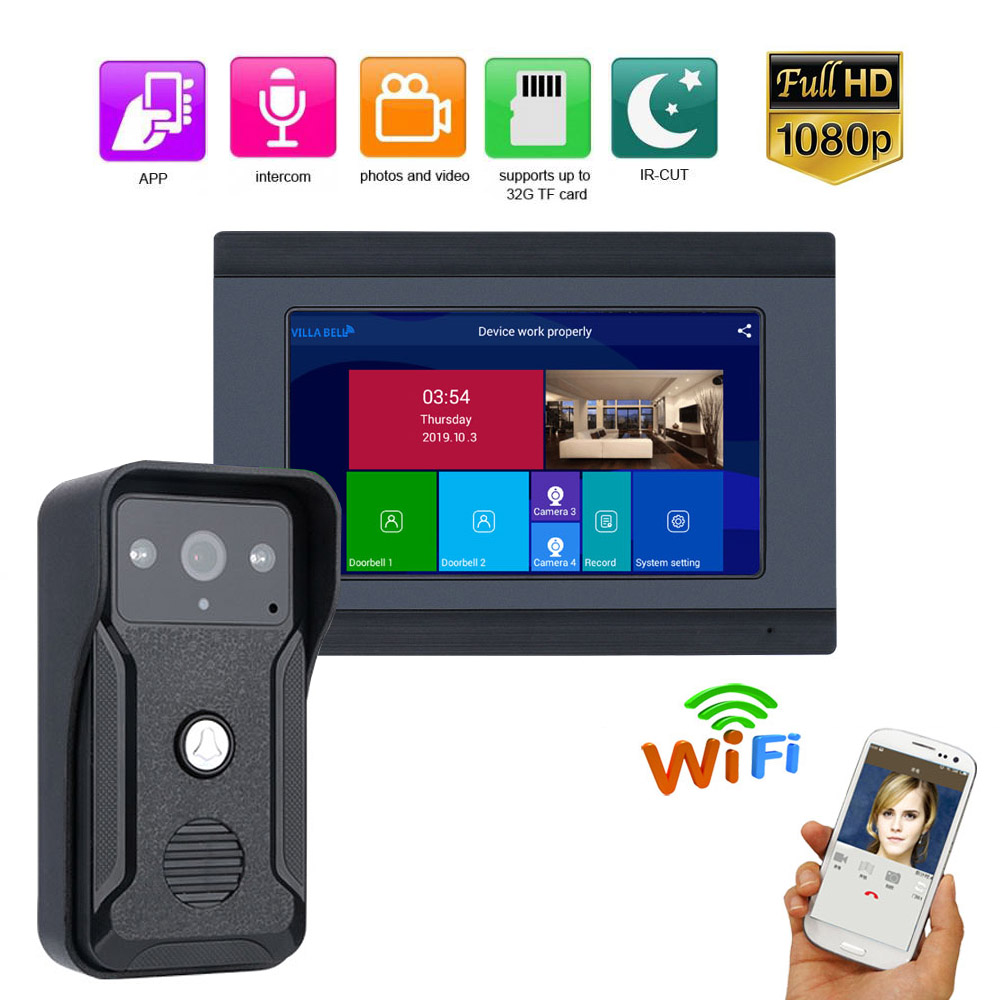 Wireless/Wired Wifi IP Video Door Phone Doorbell Intercom Entry System 2 Monitors 7inch Aluminum Alloy Wired Camera