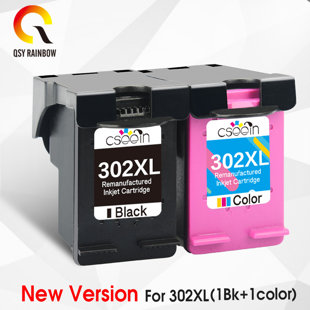 QSYRAINBOW remanufactured 302XL Replacement for HP 302 HP302 XL Ink Cartridge for Deskjet 1110 1111 1112 2130 2131 printer