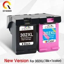 Qsyrainbow remanufaturado 302xl substituição para hp 302 hp302 xl cartucho de tinta para deskjet 1110 1111 1112 2130 2131 impressora