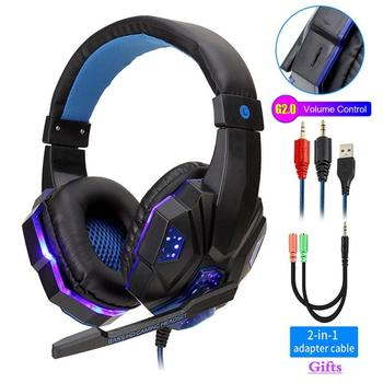 Gaming-Headphones Wired Headset Professional Led Light for Computer PS4 Adjustable Bass Stereo PC Gamer Over Ear With Mic Gifts