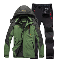 цена на Oversized 6XL Men Winter Fur Waterproof Warm Fishing Trekking Camping Hiking Climb Ski Jacket Outdoor SoftShell Pants Set Sport