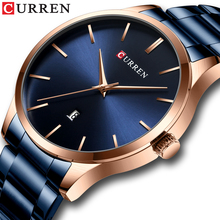 CURREN Male Watch Fashion Top Brand Male Clock Stainless Steel Waterproof Calendar Golden Case Casual Mens Quartz Wrist Watches
