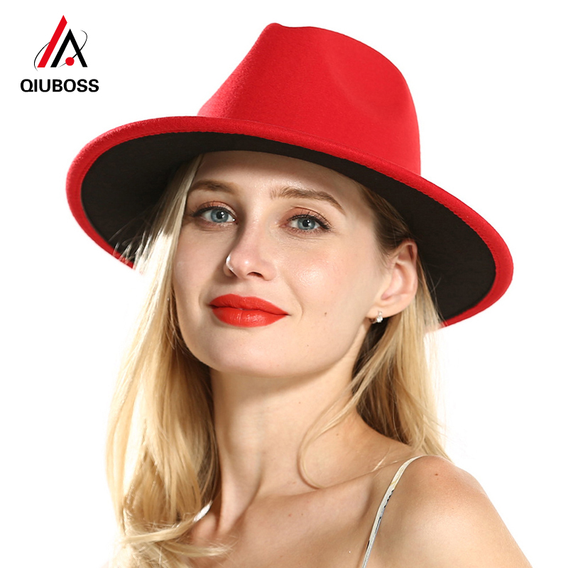 QIUBOSS Solid Wool Felt Trilby Ladies Dress Hat Women Black Red Patchwork Floppy Jazz Panama Carnival Fedora Hats Without Ribbon
