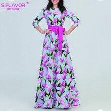 S.รสฤดูใบไม้ร่วงแฟชั่นชุดยาวผู้หญิงElegant Floralพิมพ์พรรคVestidos DeหญิงO Neckฤดูหนาวชุดลำลอง