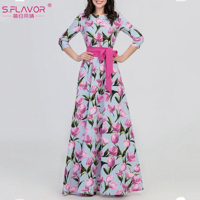 S.FLAVOR Spring Autumn Long Dress For Women Elegant Floral Printed Party Vestidos De Female O-neck Casual Dresses