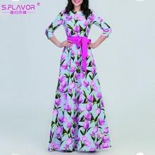 S. טעם סתיו אופנה ארוך שמלה לנשים אלגנטי פרחוני מודפס מסיבת Vestidos דה נקבה O צוואר חורף מקרית שמלות
