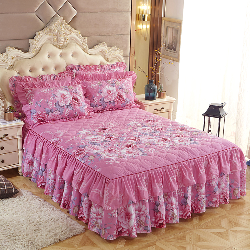 New Romantic Two Layer Quilted Bed Skirt Thickened Sanding Bedspread Fitted Sheet Cover Soft Non-Slip  Bed Skirts