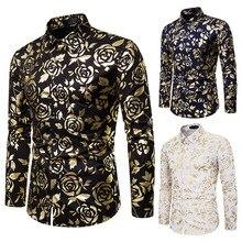 Autumn night club mens lapel rose gilded print slim long sleeve shirt tide floral jacket dress shirts men