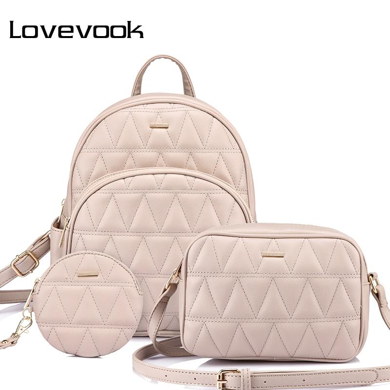 Backpack Women PU Leather Schoolbag For Girl Teenager Backpack Female Crossbody Bag Purse For Coins Bag Set 2020 Lovevook