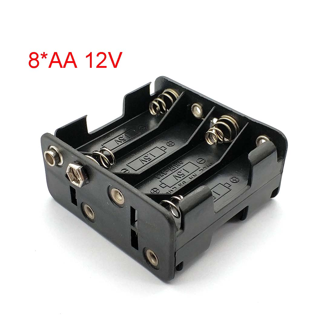 Positive and Negative 12V Double AAx8 Open Battery Holders Box with Wire Leads