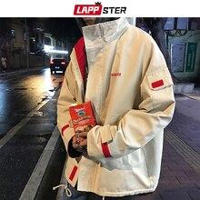 Мужская ветровка в стиле хип хоп LAPPSTER, Толстая Уличная куртка бомбер с вышивкой, в Корейском стиле, большие размеры, осень 2020