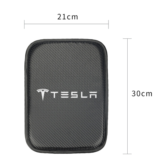 Car Armrest Pad Covers Auto Armrests Storage Protection Cushion for Tesla model 3 model X Y style Roadster Accessories 3
