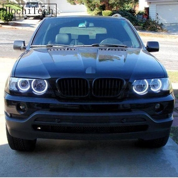цена на HochiTech for BMW X5 E53 1999-2006 Ultra Bright Day Light DRL CCFL Angel Eyes Demon Eyes Kits Warm White Halo Ring