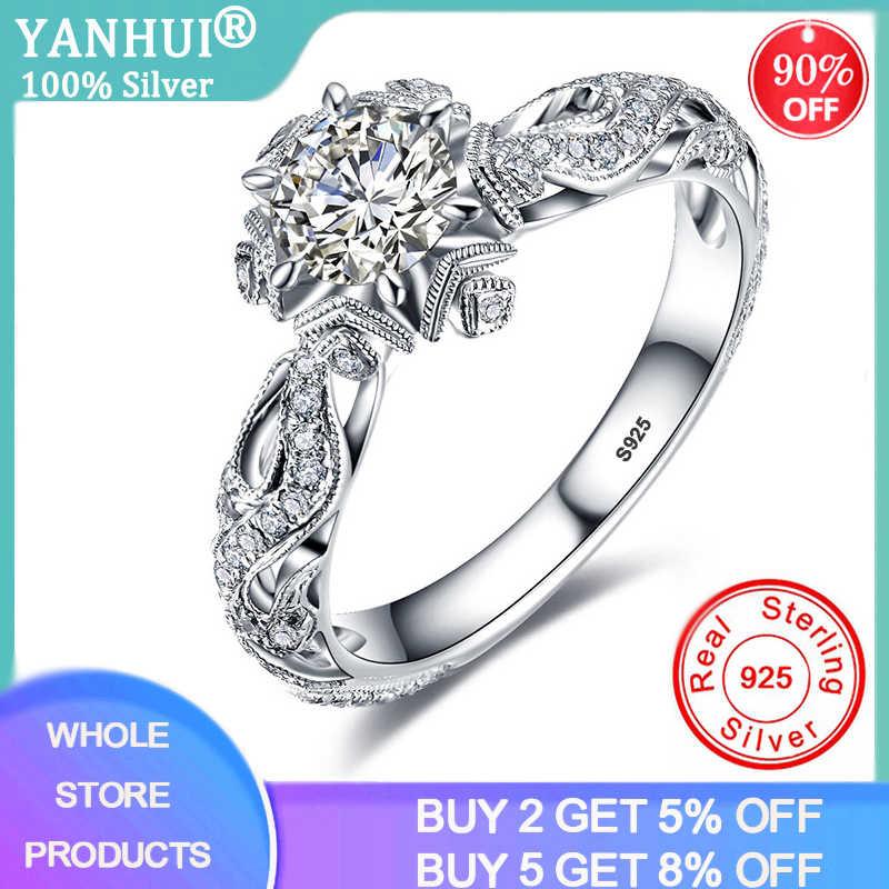 Yanhui Vintage Hollow Bunga Pernikahan Band 925 Sterling Silver Perhiasan 1 Karat LAB Cincin Pertunangan Berlian RA0772