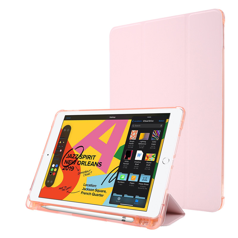 rose gold Black For iPad Case 7th Generation Flip Stand Protective Case with Pencil Holder Smart Cover For iPad