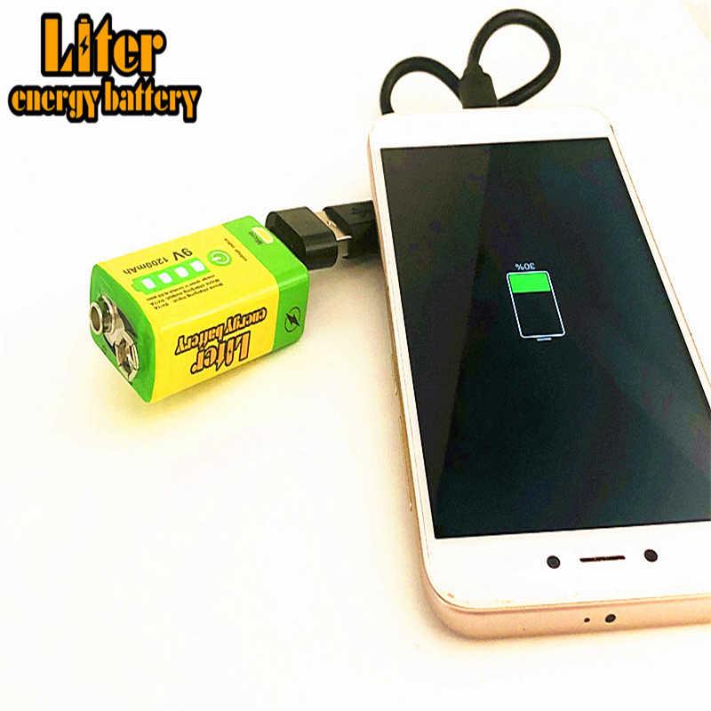 9V 6F22 マイクロ USB 1200mAh 充電式リチウムイオンバッテリー煙警報ワイヤレスマイクギター EQ インターホンマルチメータ
