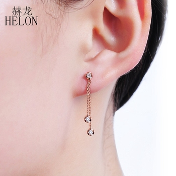 HELON Solid 18K Rose Gold AU750 0.15ct H/SI Natural Diamonds Engagement Wedding Women Trendy Fine Jewelry Gift Stud Earrings 4