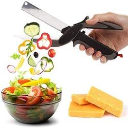 Кухонные ножницы нож из нержавеющей стали с разделочной доской резак для фруктов и овощей умный измельчитель еды Кухонные гаджеты Инструме...