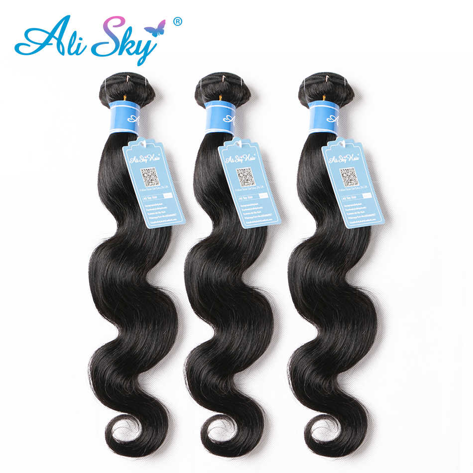 Ali Sky 3PCS Peruvian Body Wave Hair Weft Mixed Length 8-30 Inch 100% Soft Human Hair Bundles Free Shipping 1b Remy black