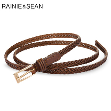 RAINIE SEAN Leather Braided Belts Vintage Thin Strap Woven Belt for Dresses Women Coffee Korean Fashion Ladies Knot