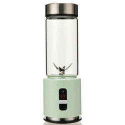 Usb Rechargeable Smoothie Blender 380Ml Glass Smoothie Blender Juicer Easy Small Portable Blender Green