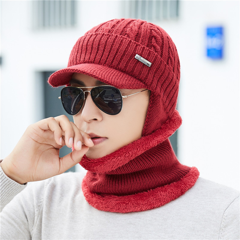Winter Men's Earmuff Warm Hat Scarf Set Plus Velvet Padded Knit Hat Solid Color Twist Duck Tongue Cap