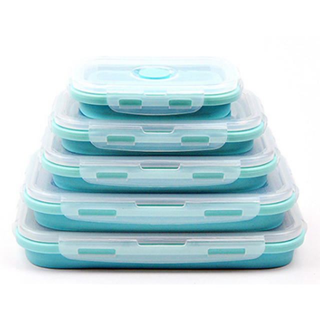3/4PCS Set Foldable Silicone Food Lunch Box Fruit Salad Storage Food Box Container Dinnerware Conveniently Lunch Box