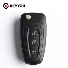 KEYYOU Flip Folding Remote Key Shell Car Key Cover 3 Buttons For Ford Focus Mondeo Fiesta 2013 Fob Auto Case With HU101 Blade