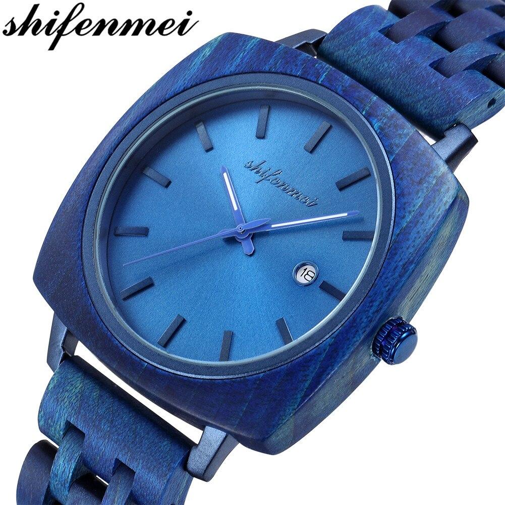 Shifenmei Wood Watch Luxury Brand Men Military Sport Watch Men's Quartz Clock Watches Wooden Wristwatch Male Date Zegarek Meski